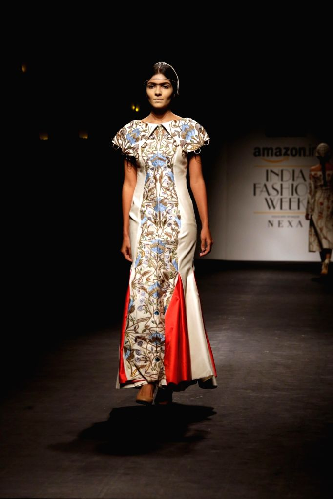 A model walks the ramp during designer Samant Chauhan's show at Amazon India Fashion Week Summer Spring 2017 in New Delhi on Oct 11,2017. - Samant Chauhan
