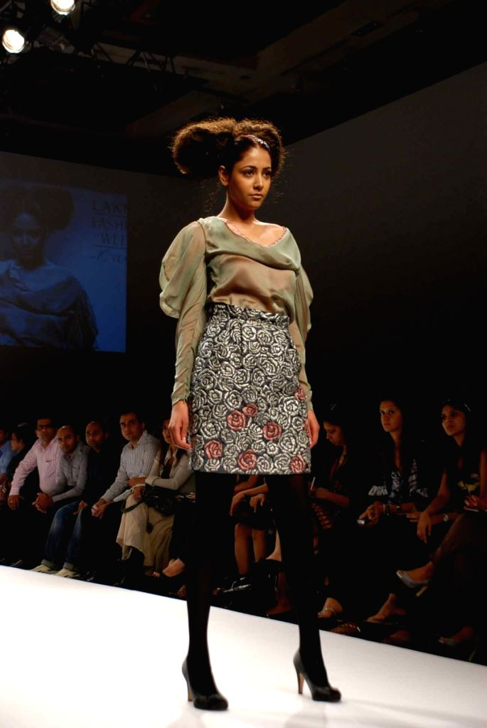 A model walks the ramp for fashion designer Anand Bhushan's at the ongoing autumn/winter edition of Lakme India Fashion Week in Mumbai.