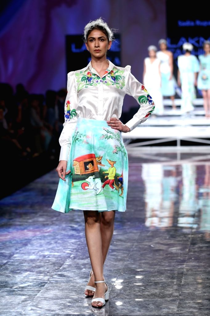 A model walks the ramp on Day 2 of the Lakme Fashion Week Summer/Resort 2020, in Mumbai on Feb 12, 2020.