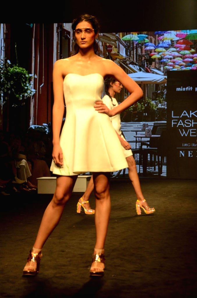 A model walks the ramp showcasing creations of Misfit Panda at the Lakme Fashion Week (LFW) Summer/Resort 2019 in Mumbai on Feb 3, 2019.