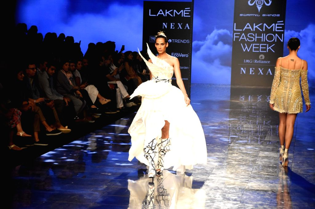 A model walks the ramp showcasing the creation of fashion designer Swapnil Shinde on Day 2 of the Lakme Fashion Week Summer/Resort 2020, in Mumbai on Feb 12, 2020.