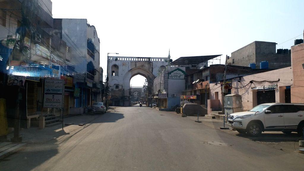 A mosque bears a deserted look on Day 6 of the 21-day countrywide lockdown imposed to contain the spread of novel coronavirus, in Hyderabad on March 30, 2020.
