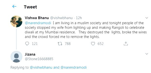 """A Mumbai-based actor from Patna named Vishwa Bhanu, who works in the Farhan Akhtar and Ritesh Sidhwani-co owned Excel Entertainment, has taken to social media to complain that he is not being allowed to celebrate Diwali in the """"Muslim"""" society he liv - Farhan Akhtar"""