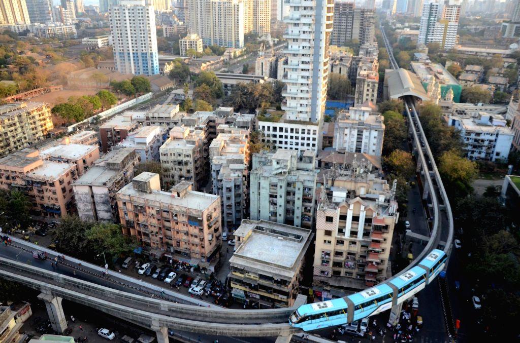 A Mumbai Monorail rake runs on a stretch between Wadala to Jacob's circle Terminal during trail runs in Mumbai on March 3, 2019.