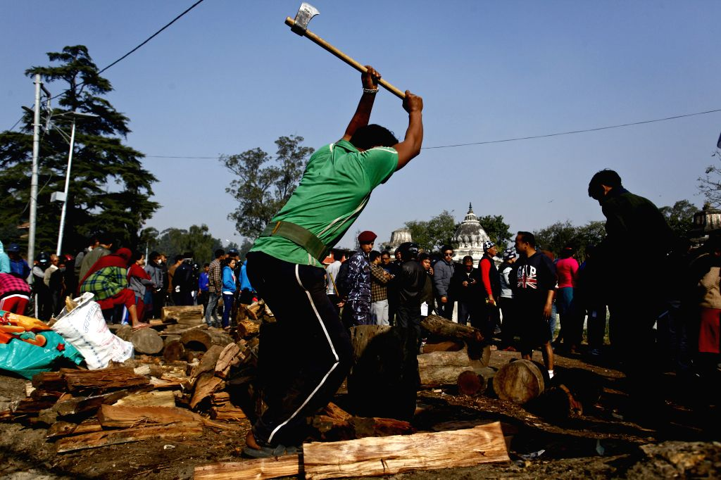 A Nepalese man cuts the wooden logs provided by the Nepalese government at Pashupatinath, Kathmandu, in Nepal, Nov. 15, 2015. Due to the strike done by the ...