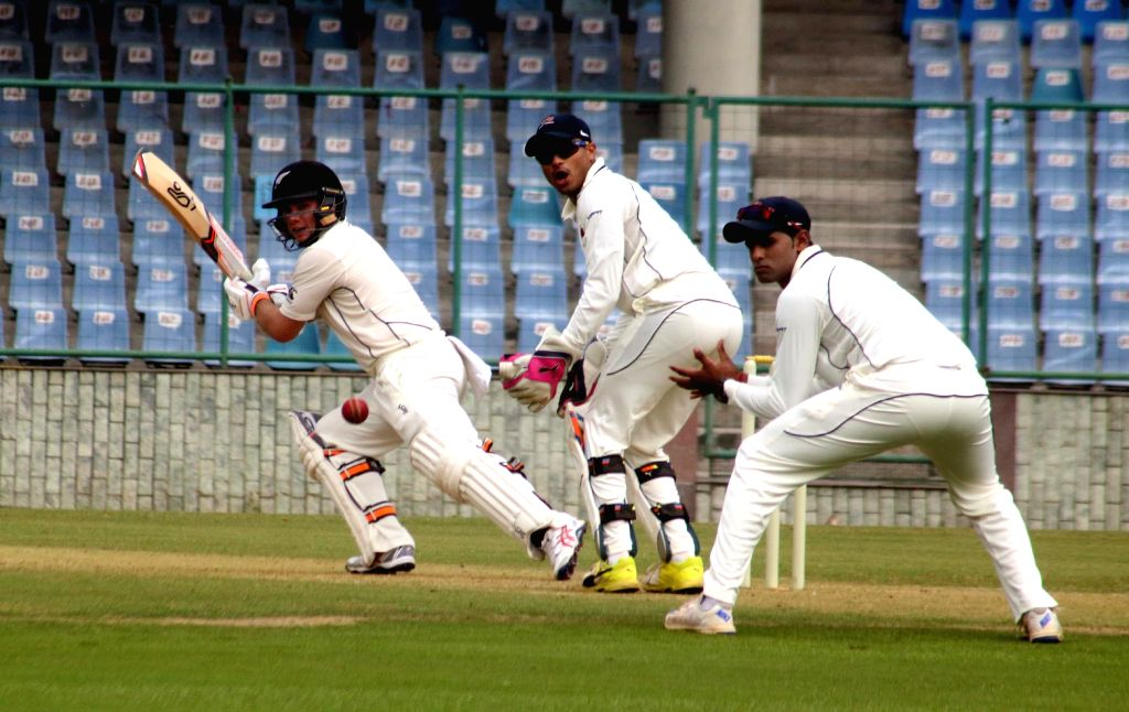 A New Zealand player in action during a practice match between New Zealand and Mumbai at Feroz Shah Kotla Stadium in New Delhi on Sept 16, 2016.