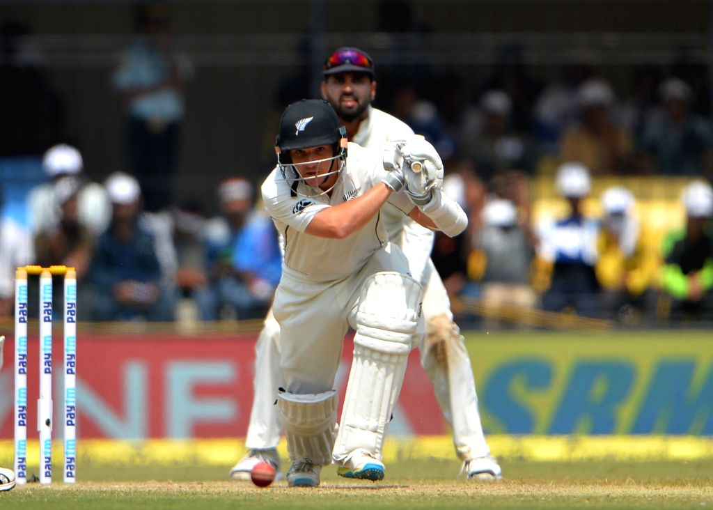 A New Zealand player in action on the third day of the third test match between India and New Zealand at Holkar stadium in Indore on Oct 10, 2016.