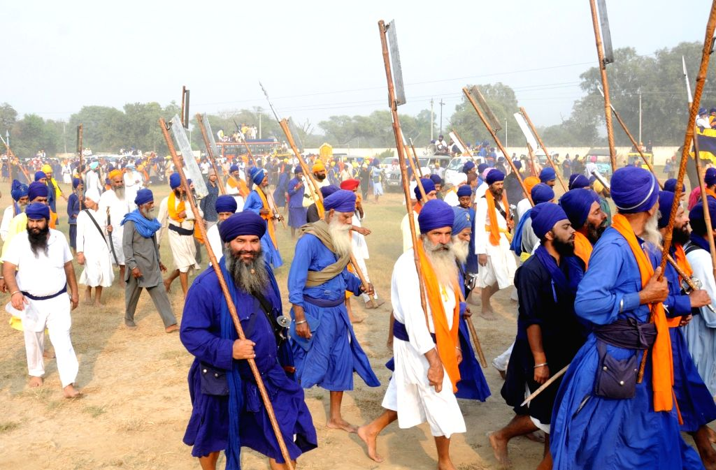 A Nihangs participates during Fateh Divas celebration in Amritsar on Oct 31, 2016.