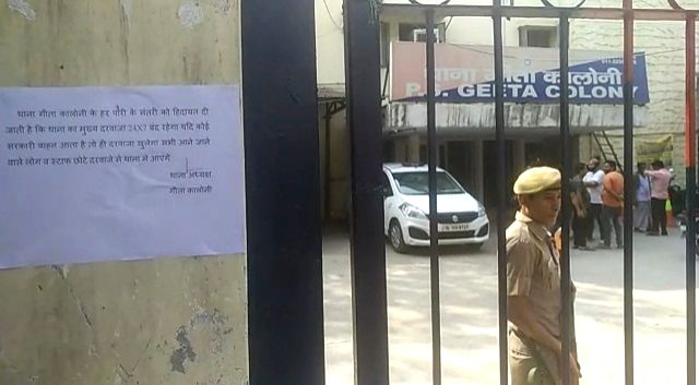 A notice directing police personnel to keep the gates of police station shut and only allow entry to government vehicles put up at the Geeta Colony police station in the wake of terror ...