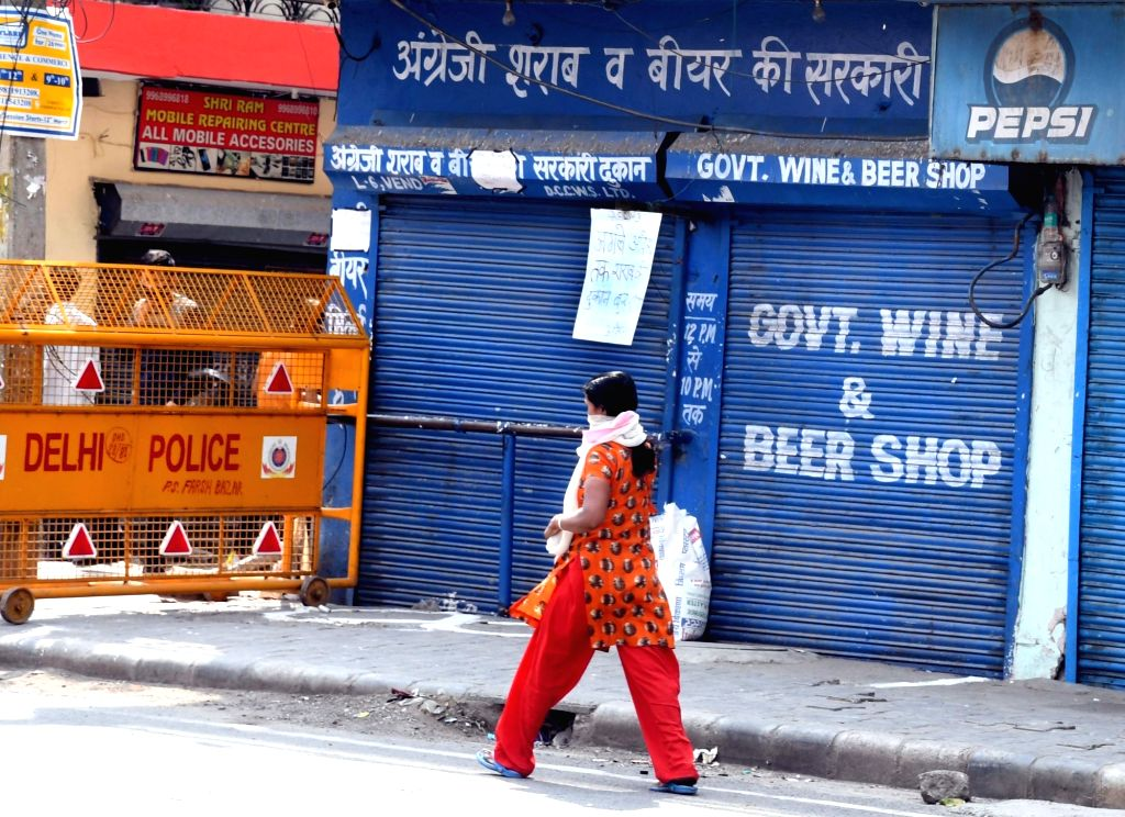"A notice that reads ""liquor shops shall remain closed till further orders"" put up by the police on the shutter of a wine and beer shop in East Delhi during the extended ..."