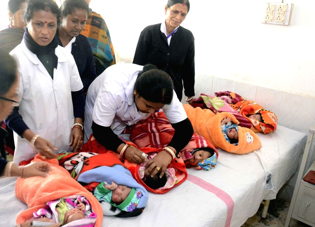 A nurse administers polio drops to new born babies  in a Dharmanagar hospital of Tripura on Jan 17, 2016. The annual pulse polio immunisation drive as launched in the state on Jan 17.