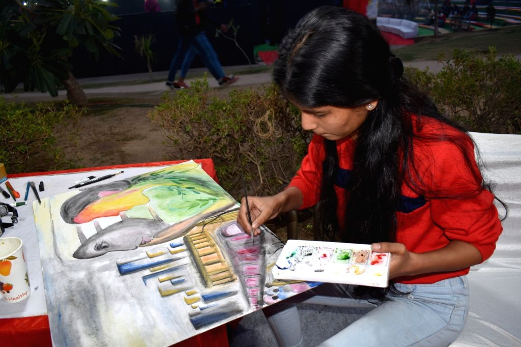 A painting competition organised during the 9th edition of the Youth Festival at Central Park in New Delhi on Dec 5, 2019.