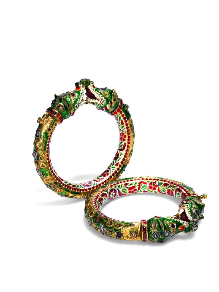 A Pair of Gem-Set and Enamelled Bracelets, Rajasthan, mid-19th century, est. £4,000-6,000.