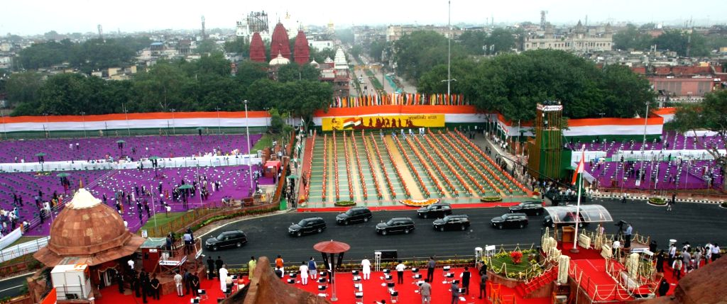 A panoramic view in front of Red Fort, on the occasion of 74th Independence Day from the ramparts of Red Fort, in Delhi on August 15, 2020.