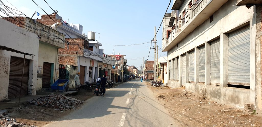 A part of Dera Baba Nanak town leading to the international border with Pakistan.