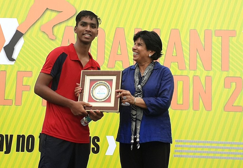 A participant of Adamant Half Marathon 2019 being felicitated  at Commonwealth Games Village in New Delhi.
