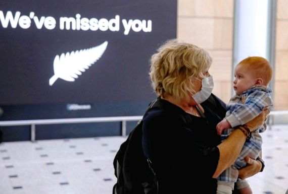 A passenger from New Zealand meets her grandson at Sydney Airport International Terminal in Sydney, Australia, April 19, 2021.