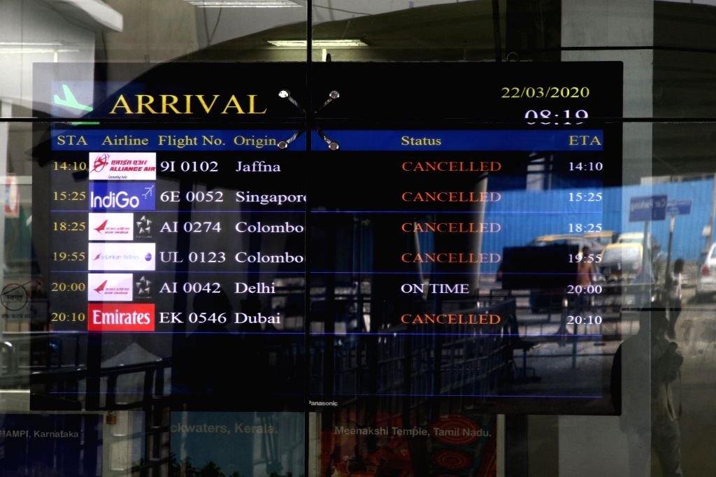 A Passenger Information Display screen showing all those flights cancelled in the wake of coronavirus pandemic, during nationwide shutdown - Janata Curfew - called by Prime Minister Narendra ... - Narendra Modi