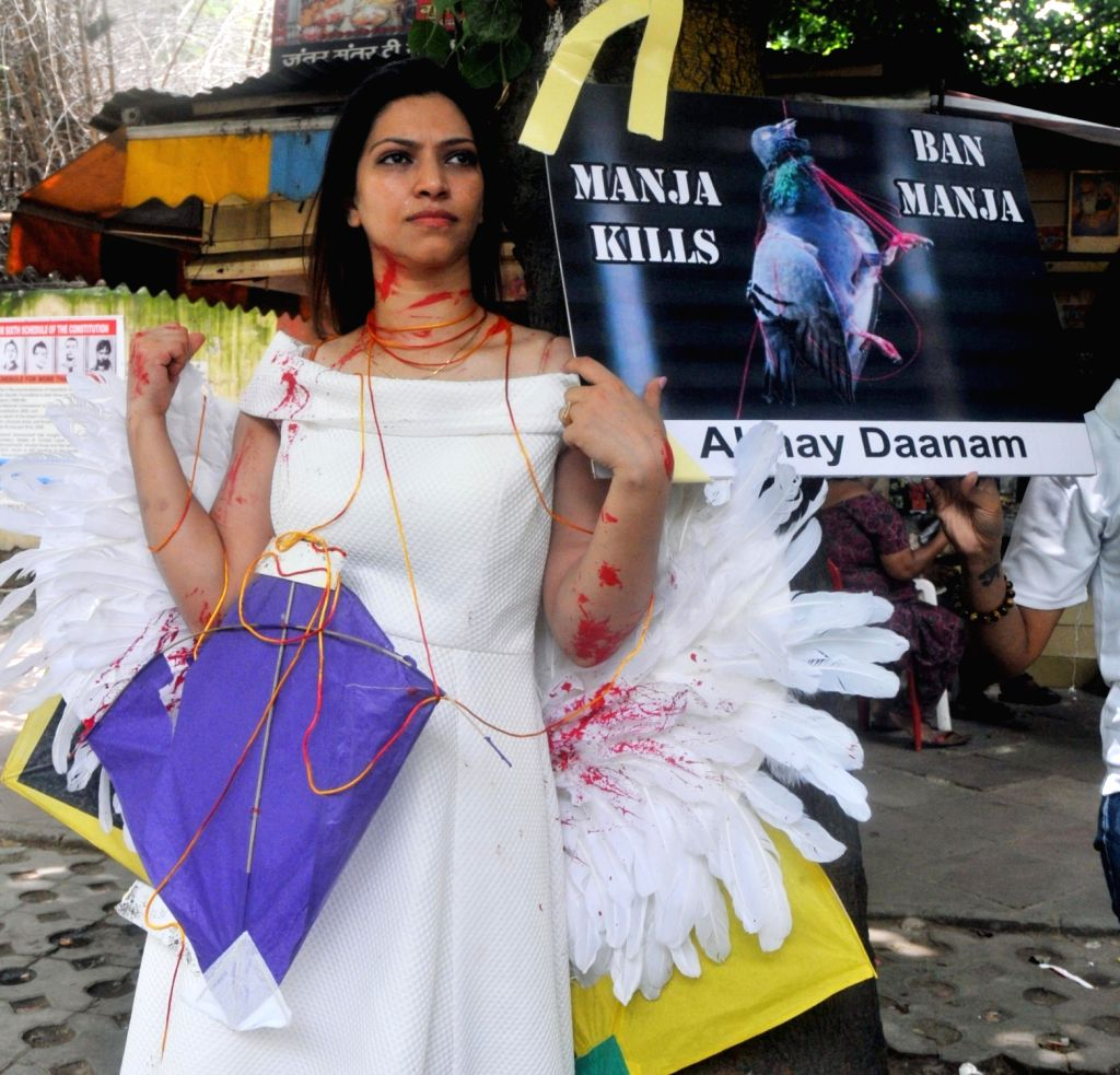 A PETA activist stages a demonstration to urge people not to use synthetic manja or nylon threads for the saving of birds; in New Delhi on Aug 4, 2017.