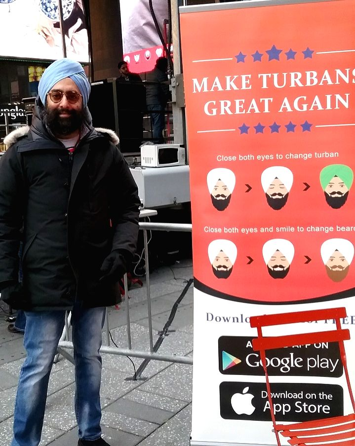 A phone app about Sikh Turbans was advertised at the Turban Day celebrations in New York's Times Square on Saturday, April 7, 2018.