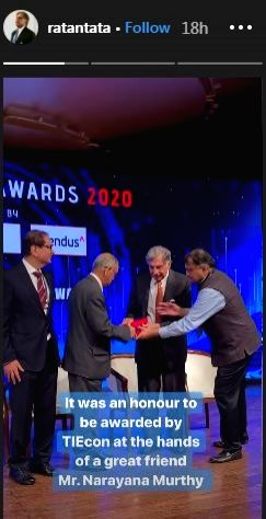 A photo of Infosys co-founder Narayana Murthy touching Ratan Tata's feet is doing the rounds on the Internet. In the viral photo which emerged online, the Infosys Co-Founder touched Tata Sons ... - Ratan Tata