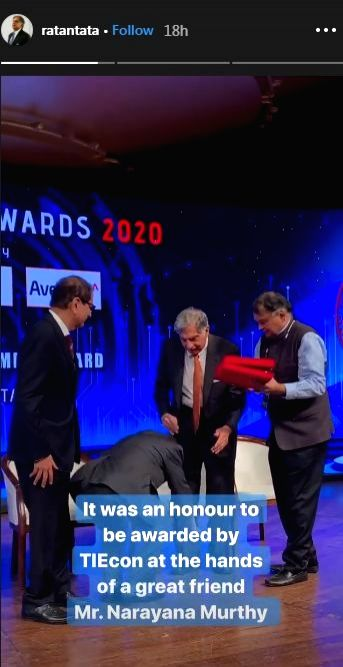 A photo of Infosys co-founder Narayana Murthy touching Ratan Tata's feet is doing the rounds on the Internet. In the viral photo which emerged online, the Infosys Co-Founder touched Tata Sons Chairman Ratan Tata's feet to seek blessings at an event i - Ratan Tata