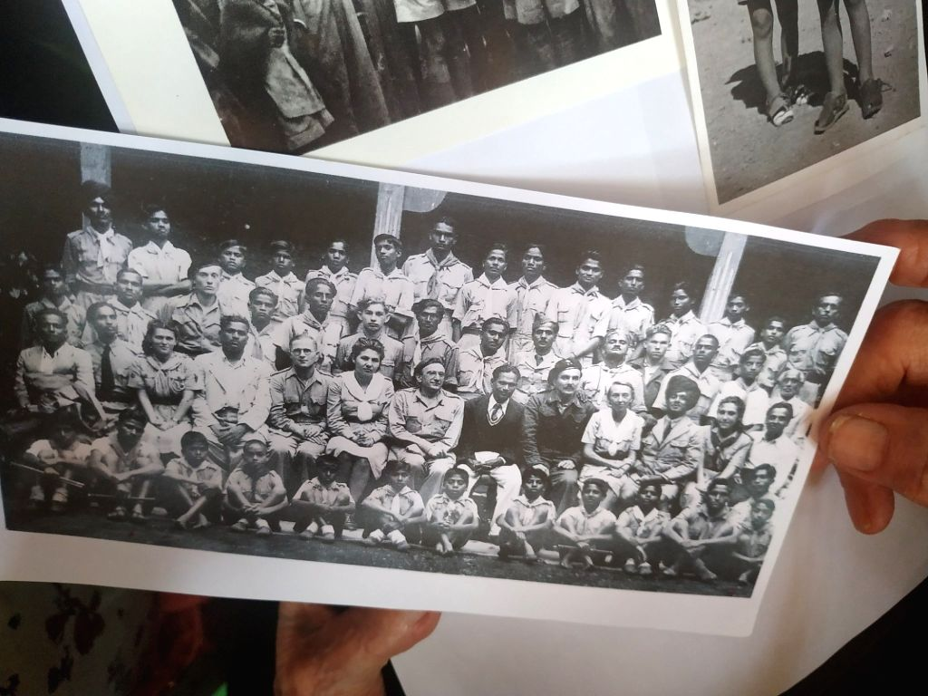 A photograph of the Polish hockey team at the time of WW-II that lived in Kolhapur, Maharashtra.
