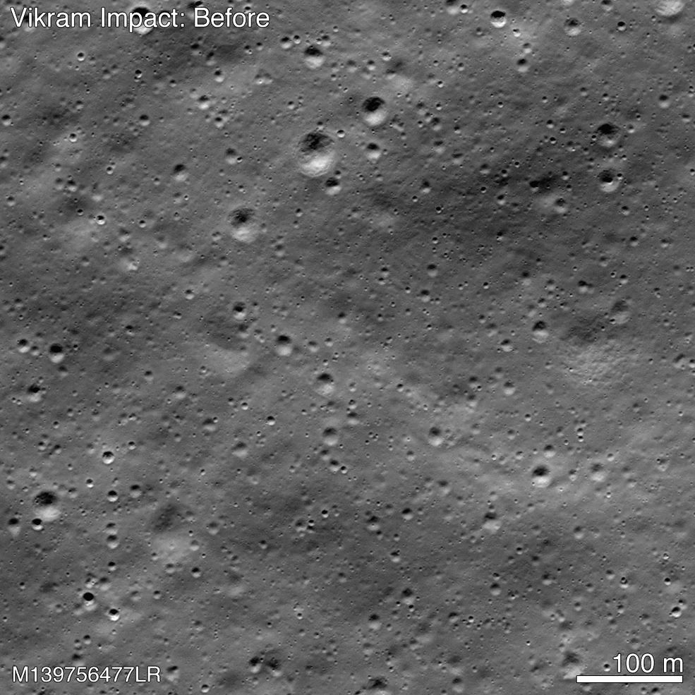 A picture released by NASA shows the point of impact of the Vikram moonlander when it crashed on the moon on September 6, 2019, and where its debris is. The places where the debris is found is marked ...