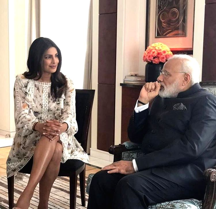 A picture shared by Priyanka Chopra on Instagram that shows her meeting Prime Minister Narendra Modi in Berlin, Germany on May 30, 2017. - Narendra Modi and Priyanka Chopra