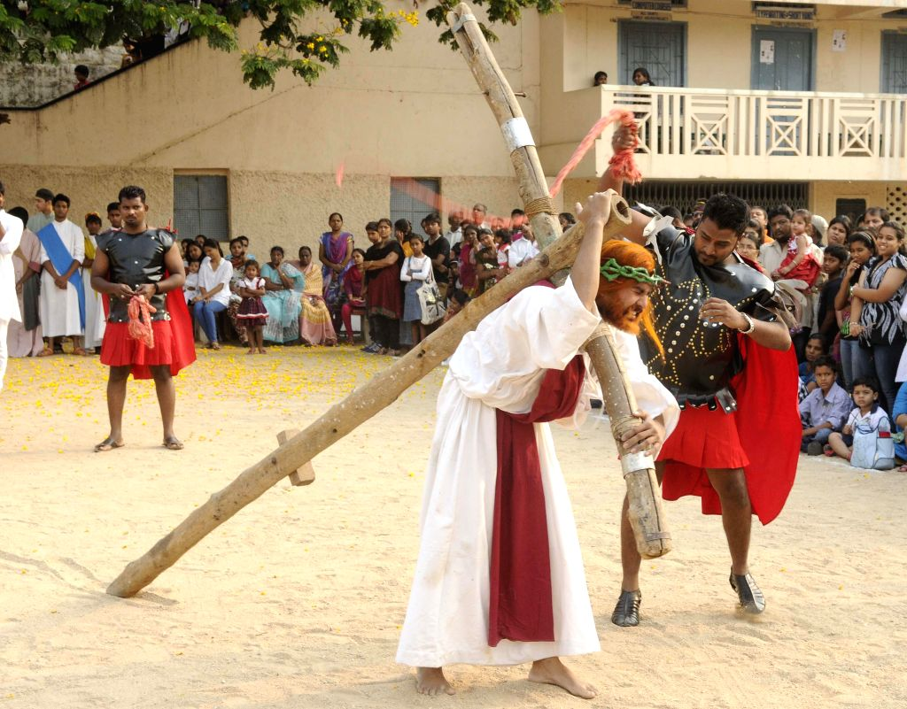 A play being enacted at a school on Good Friday in in Hyderabad on April 18, 2014.