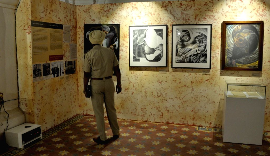 A police official looks at the installations of the newly inaugurated Partition Museum in Amritsar on Aug 17, 2017.