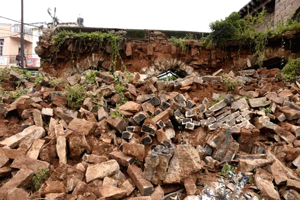 A portion of Moti Darwaza, one of the eight entrances to Golconda Fort, collapsed after heavy rains lashed Hyderabad, on Sep 27, 2019.