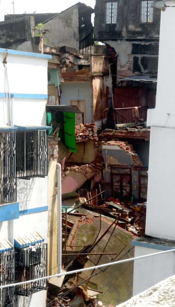 A portion of the house in Bowbazar's Sakara para lane collapsed owing to tunnel boring for East-West Metro corridor in Kolkata on Sep 12, 2019.