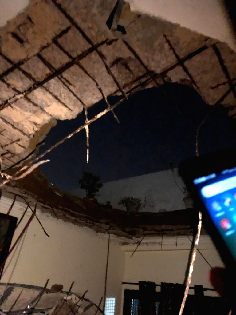 A portion of the roof of a house that collapsed in New Delhi's Rohini on Sep 6, 2019.