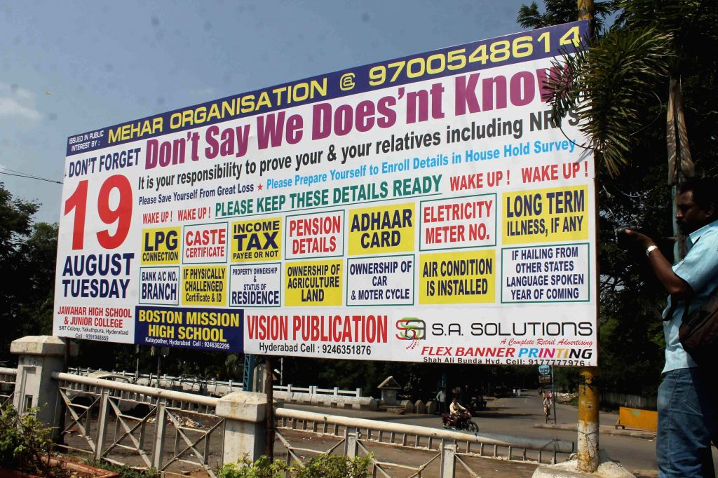 A poster put-up in Hyderabad reminds people about the documents required at the time of household survey being conducted by the Telangana Government.