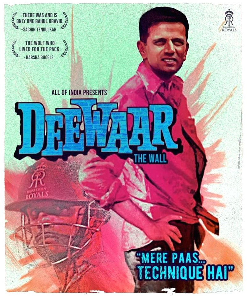 """A poster shared by Rajasthan Royals on their Facebook page with a photo of Rahul Dravid and labelled it Deewar - The Wall with the caption """"mere paas technique hai"""" to pay tribute to the ... - Rahul Dravid and Amitabh Bachchan"""