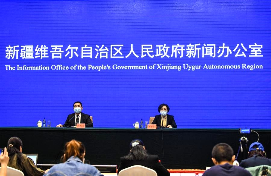 A press conference is held by the Information Office of the People's Government of Xinjiang Uygur Autonomous Region in Urumqi, northwest China's Xinjiang Uygur Autonomous Region, Oct. 25, 2020