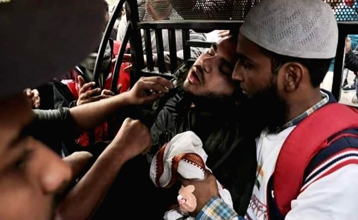 A protester who fell unconscious due to heat and suffocation during a protest march to Parliament organised by Jamia Millia Islamia (JMI) University against the Citizenship Amendment Act ...