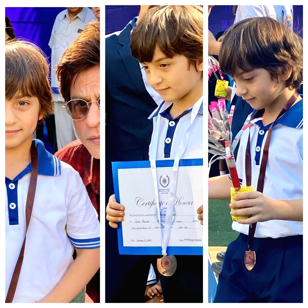 "A proud father Shah Rukh Khan shared photographs of his youngest son AbRam, whom the superstar fondly called his ""gold medal"", after he won races. SRK on Friday took to Twitter, where he shared a photo collage of AbRam along with the medals and and c - Rukh Khan"