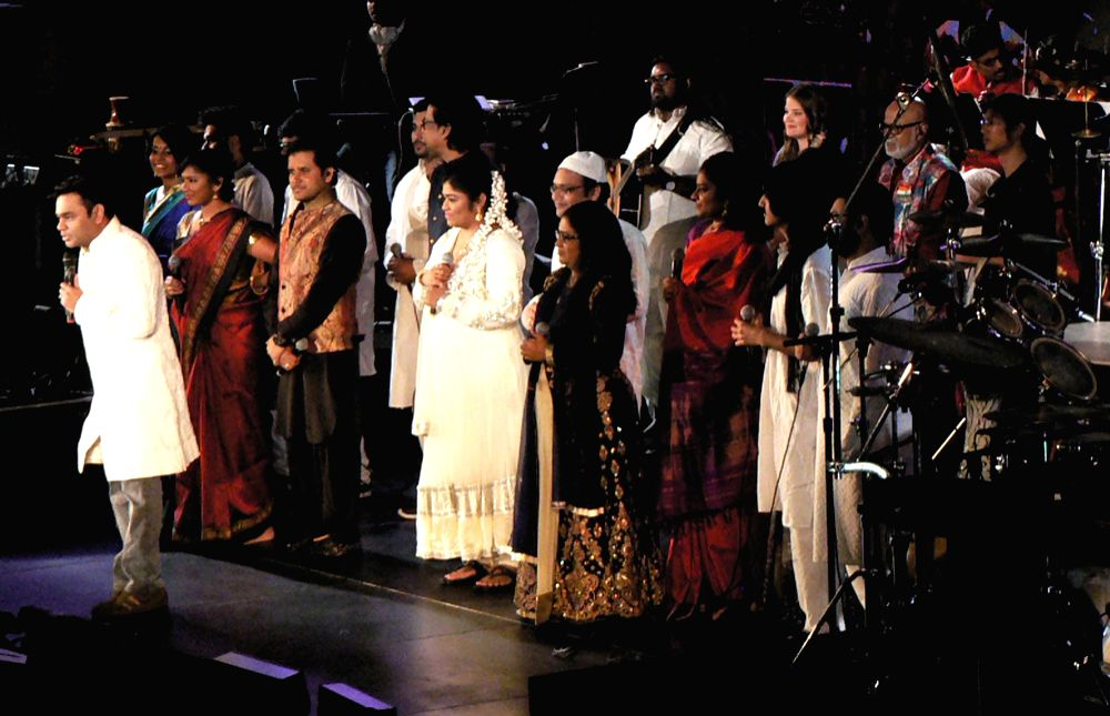 A R Rahman and his ensemble belt out ?Jai Ho? at the Indian Independence Day concert at the United Nations on Aug. 15, 2016, 50 years after M S Subbulakshmi\'s historic concert. (Photo credit: ...