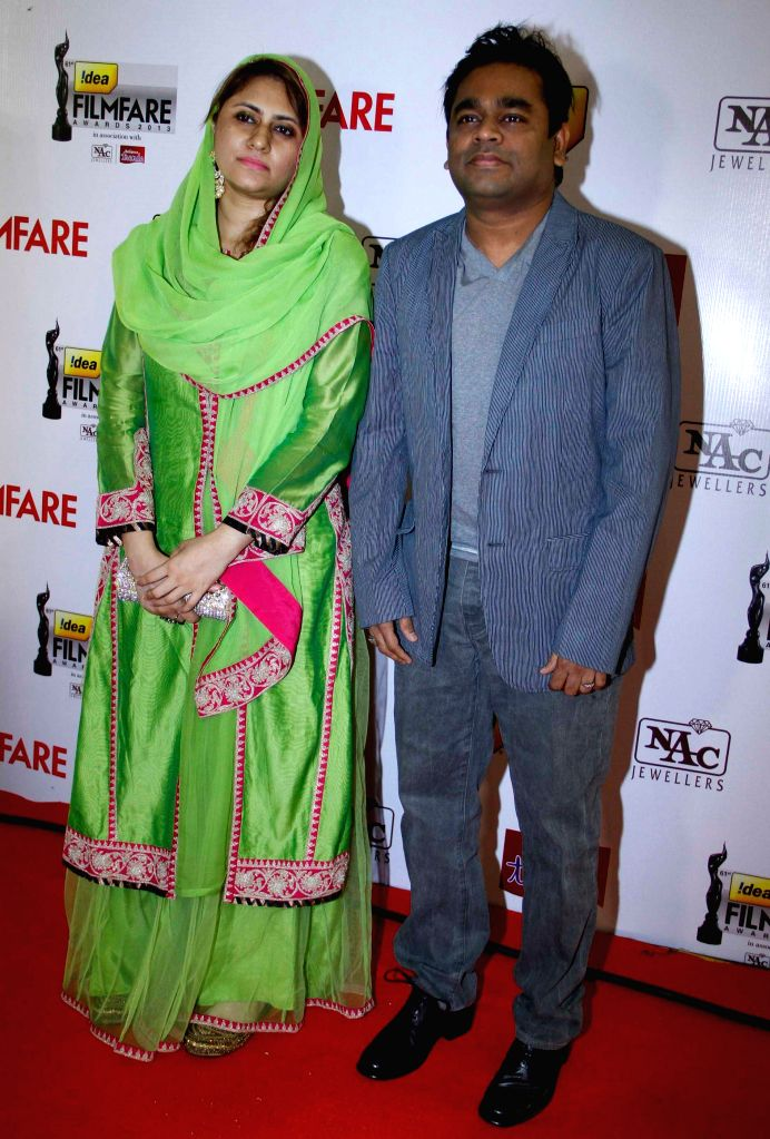 A R Rehman with wife at the `61st Idea Filmfare South Awards 2013` held in Chennai at Nehru Stadium. - A R Rehman