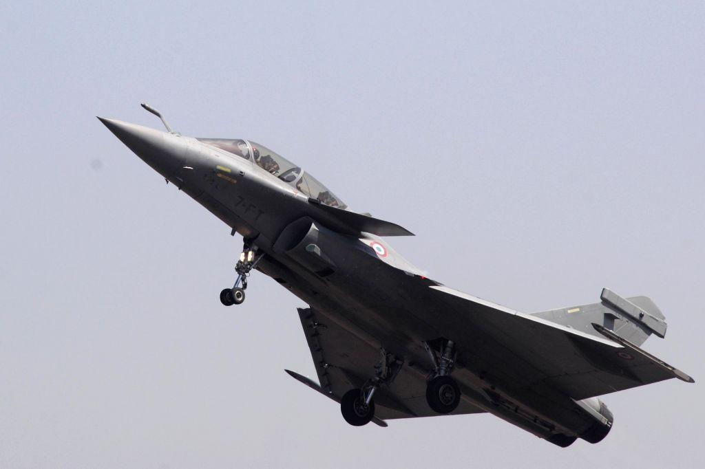 "A Rafale fighter aircraft during ""Aero India 2019"" - air show at Yelahanka Air Force Station, in Bengaluru, on Feb 20, 2019."