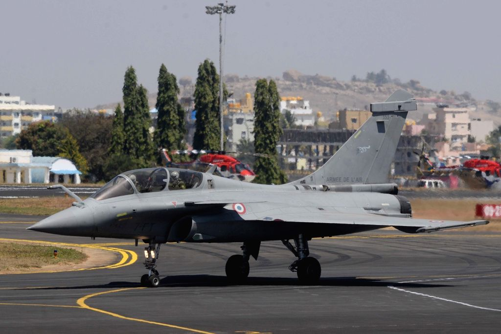 "A Rafale fighter aircraft during ""Aero India 2019"" - air show at Yelahanka Air Force Station, in Bengaluru, on Feb 21, 2019."