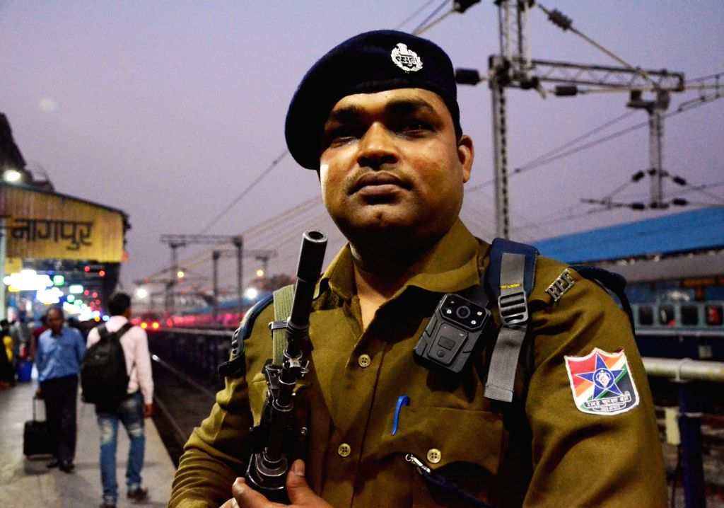 A Railway Protection Force (RPF) personnel wearing a body camera seen at Nagpur Junction railway station, on Feb 7, 2019.