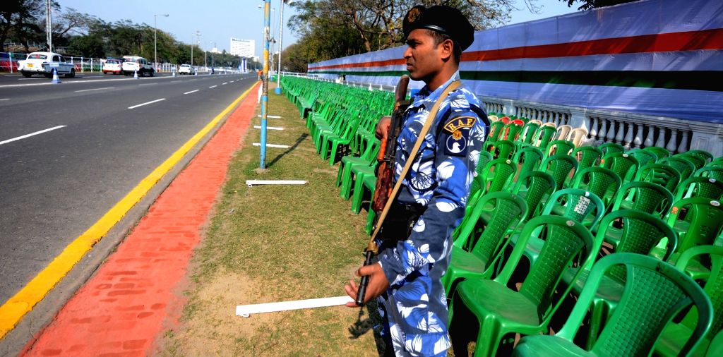 A Rapid Action Force (RAF) personnel stands guard at Red Road on the eve of Republic Day parade 2020. in Kolkata on Jan 25, 2020.
