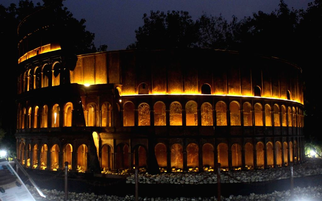 """A replica of the Colosseum or Coliseum, also known as the Flavian Amphitheatre at the """"Waste to Wonder"""" Park in New Delhi on Feb 21, 2019."""