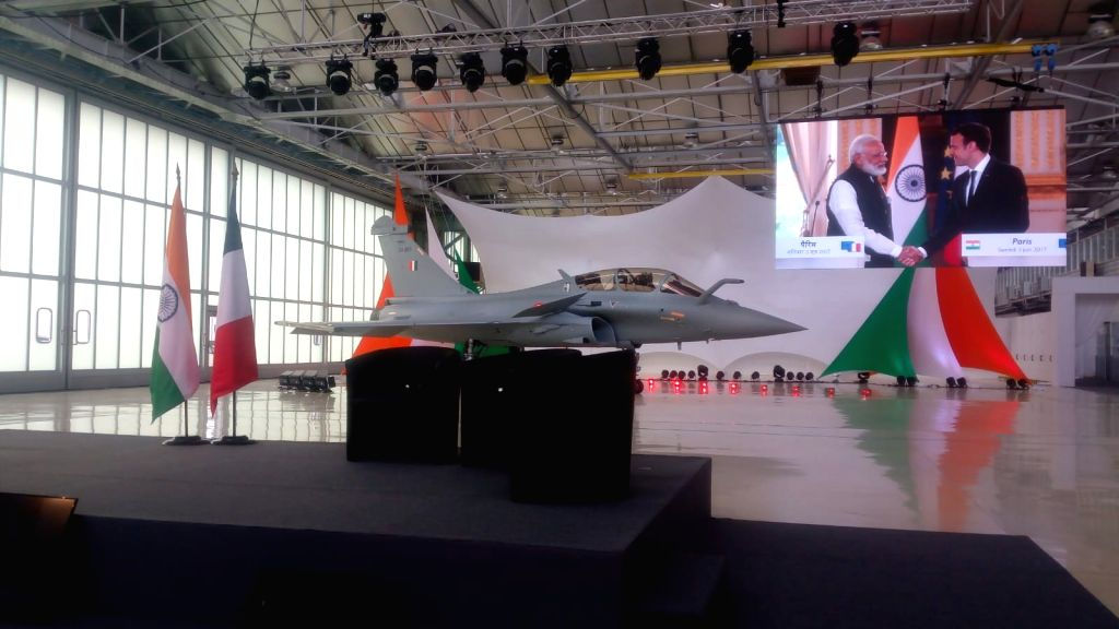 A replica of the IAF Rafale on display at the the handover ceremony of the first Indian Air Force Rafale to the Government of India, at Dassault Aviation Merignac facility in France on Oct ...