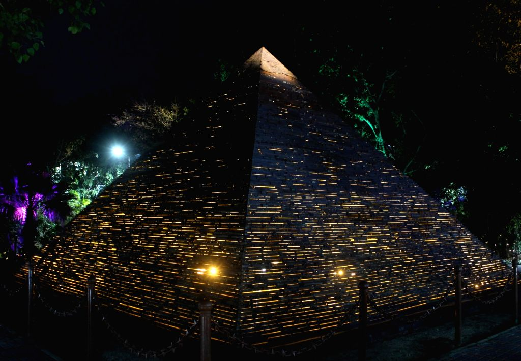 """A replica of the Pyramid of Giza at the """"Waste to Wonder"""" Park in New Delhi on Feb 21, 2019."""