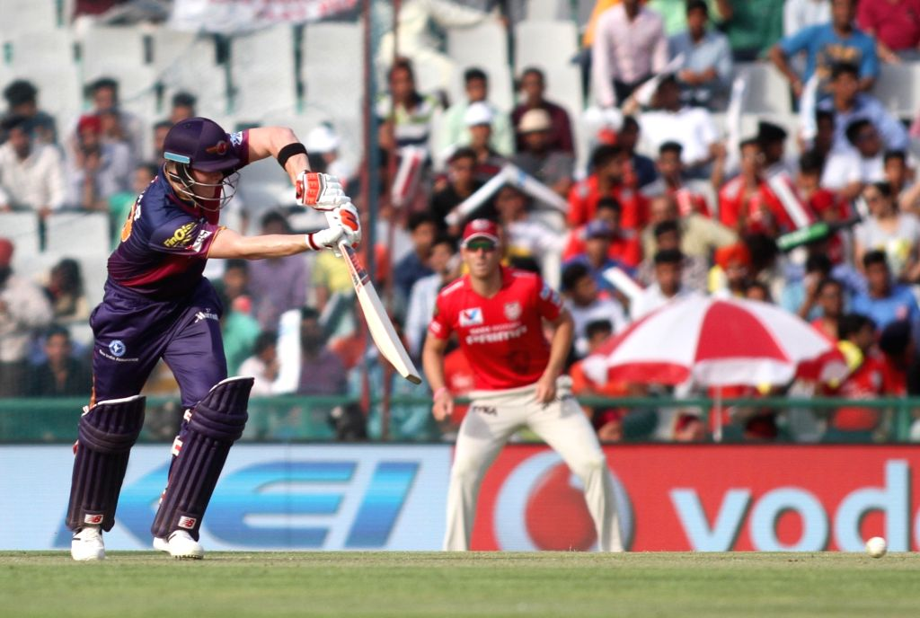 A Rising Pune Supergiants batsman in action during an IPL match between Kings XI Punjab and Rising Pune Supergiants at Punjab Cricket Association IS Bindra Stadium in Mohali on April 17, 2016.