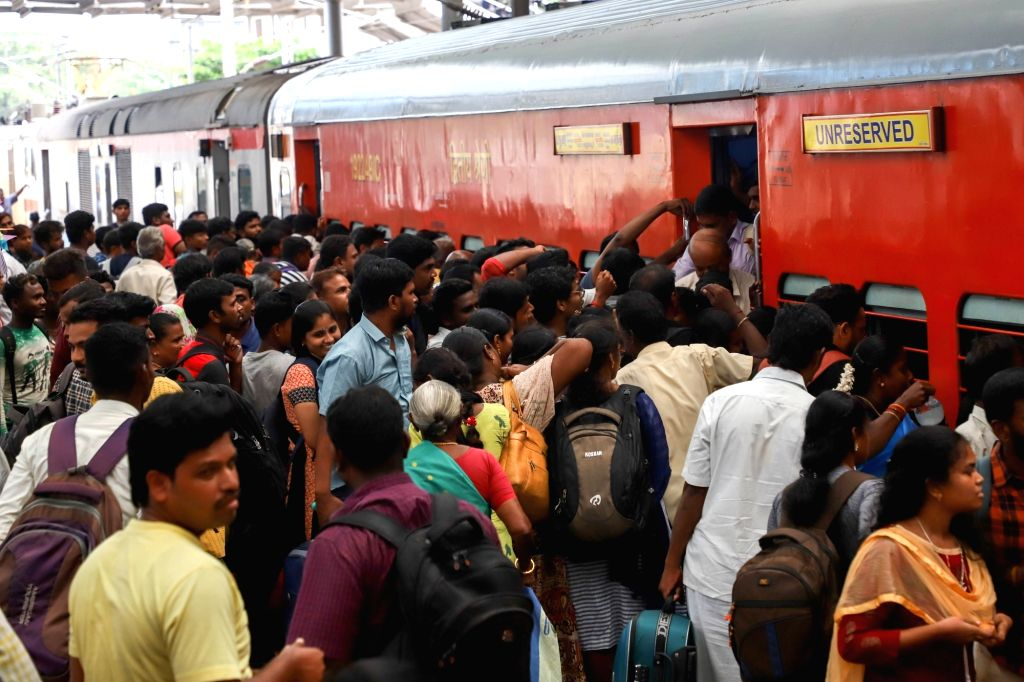 A rush of passengers seen at Chennai Egmore railway station as people leave for their hometowns to celebrate Diwali, on Oct 25, 2019.